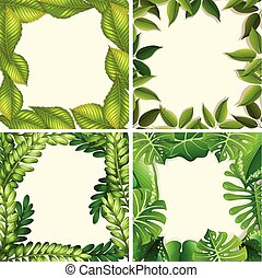 A Set of Green Leaf Border