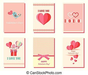 A set of greeting cards for Valentine's Day with hearts. Pink, white, turquoise. Gift templates. Painted hearts. Design for valentine and wedding and other holidays. Vector.