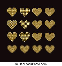 A set of halftone hearts