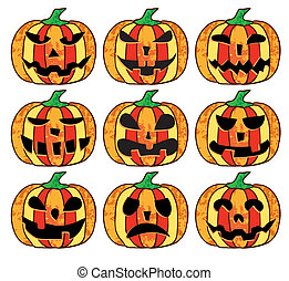 A set of  halloween pumpkins