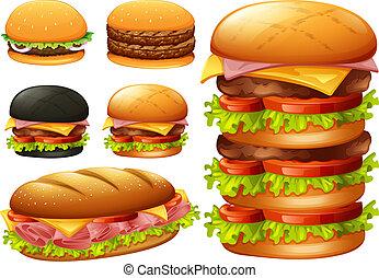 A set of hamburger on white background