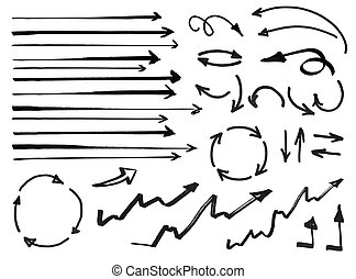 a set of hand drawn arrows isolated on white background