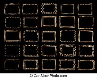 A set of hand drawn vector gold frames