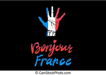 A set of hands with different gestures wrapped in the flag...
