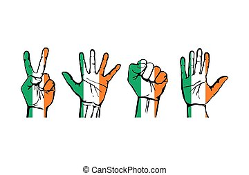 A set of hands with different gestures wrapped in the flag of Ireland