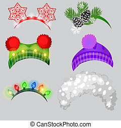 A set of hat and headbands in the style of Christmas and New year isolated on grey background. Vector cartoon close-up illustration.