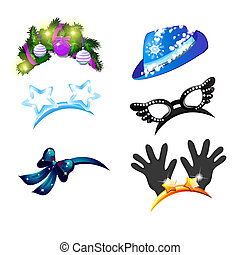 A set of hat and headbands with baubles in the style of Christmas and New year isolated on white background. Accessories for carnival or corporate party. Vector cartoon close-up illustration.