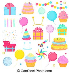 A set of holiday items for birthday decorations, children parties. Sweets, balloons, gift boxes, garlands.