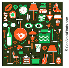 A set of household items
