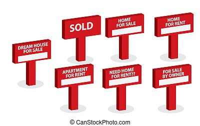 A Set Of Housing market concept