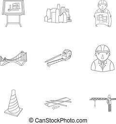 A set of icons on the theme of construction and architects. Builders, architects, and subjects for construction . Architect icon in set collection on outline style vector symbol stock illustration.