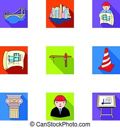 A set of icons on the theme of construction and architects. Builders, architects, and subjects for construction . Architect icon in set collection on flat style vector symbol stock illustration.