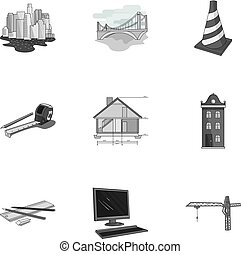 A set of icons on the theme of construction and architects. Builders, architects, and subjects for construction . Architect icon in set collection on monochrome style vector symbol stock illustration.