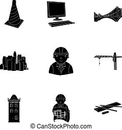 A set of icons on the theme of construction and architects. Builders, architects, and subjects for construction . Architect icon in set collection on black style vector symbol stock illustration.