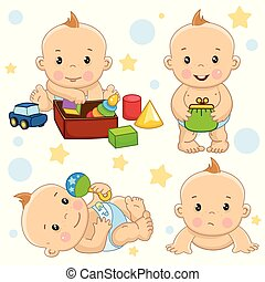 A set of illustrations for children and design, a small newborn child sits and collects toys in a box, lies on his back playing with a rattle, holds a purse in his hands, creeps sad.