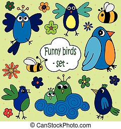 A set of illustrations of funny birds with flowers and bees.