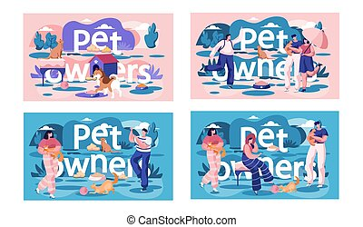 A set of illustrations on the topic of resting and walking with pets. Owners playing with animals