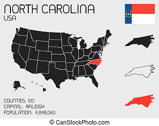 Set of Infographic Elements for the State of North Carolina