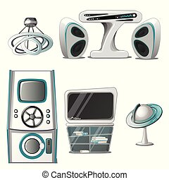 A set of interior and electronic equipment in the High-Tech style isolated on white background. Interior design in futuristic style. Vector illustration.