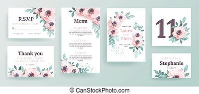 set of invitations for a wedding with pink flowers