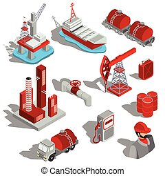 A set of isolated vector isometric illustrations, 3D icons of the oil industry.
