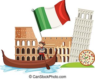 A Set of Italy Tourist Attraction illustration