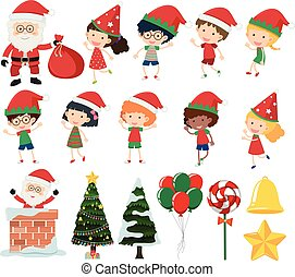 A Set of Kids in Christmas