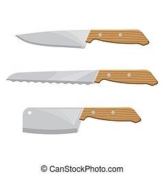 A set of kitchen knives