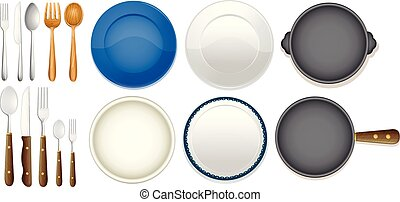 A Set of Kitchenware on White Background