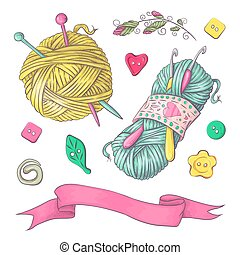 A set of knitted clothes clew knitting needles. Hand drawing. Vector illustration