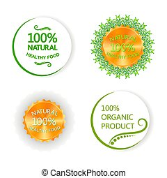 A set of labels, logo, labels of natural, organic food. Vector bio, eco shape on white background.