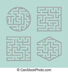 A set of labyrinths for children. A square, a circle, a hexagon. A simple flat vector illustration isolated on a green background.