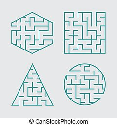 A set of labyrinths for children. A square, a circle, a hexagon, a triangle. A simple flat vector illustration isolated on a gray background.