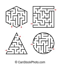 A set of labyrinths for children. A square, a circle, a hexagon, a triangle. Simple flat vector illustration isolated on white background.