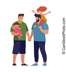 A set of LGBT couples and couples with children, gays, lesbians, a traditional pregnant couple. Relations and rights of homosexual partners. Vector illustration in a flat cartoon style.