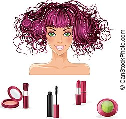 A set of makeup for girls with green eyes