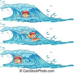 A Set of Man Swimming in Ocean