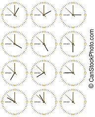A set of mechanical clocks with an image of each of the twelve hours.