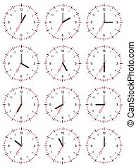 A set of mechanical clocks with an image of each of the twelve hours