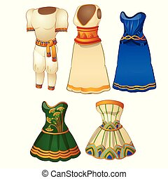 A set of mens and womens clothing in the style of ancient Egypt. Vector illustration.