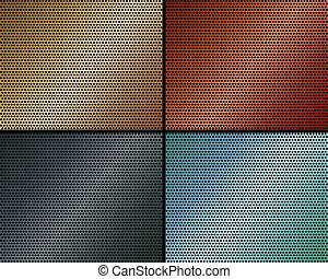 A set of metal backgrounds of perforated metal