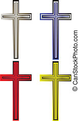 A set of metal crosses