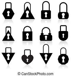 A set of metal locks of different shapes on a white...