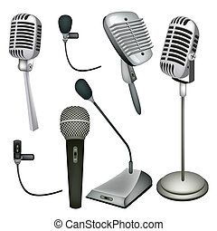 An Illustration Collection Various Kind of Microphone in Modern and Retro Style