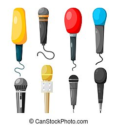 A set of microphones made in the style of a cartoon on a white background. Vector illustration