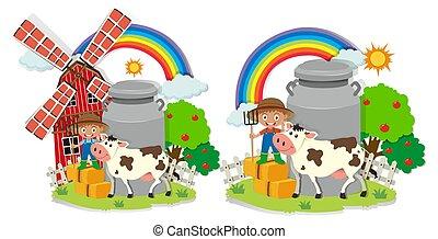 A set of milk farm illustration