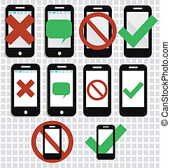 A set of mobile phone icons for n phones alowed
