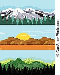 A set of mountain landscape
