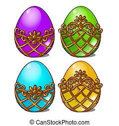 A set of multicolored eggs in a golden frame isolated on white background. Vector cartoon close-up illustration.