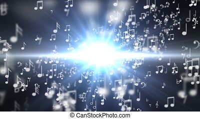 A set of musical notes going into the word MUSIC